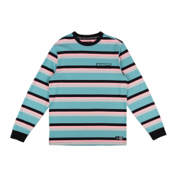 T-SHIRT WELCOME MEDIUS STRIPE LS - DUSTY TEAL