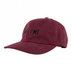 CASQUETTE WELCOME SCRAWL PEACHED TWILL DAD HAT - MAROON BLACK