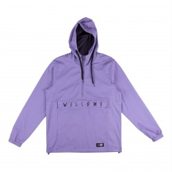VESTE WELCOME SCRAWL GARMENT DYED TWILL ANORAK - PURPLE