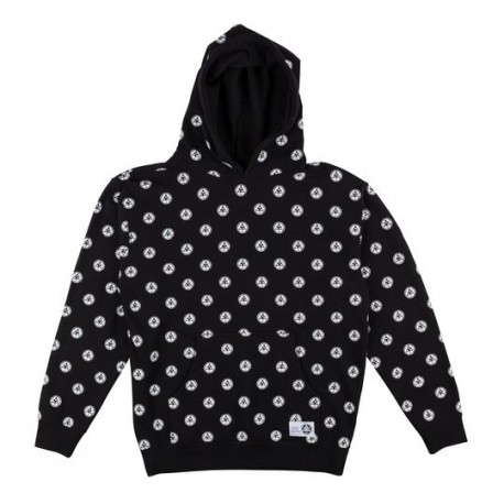SWEAT WELCOME TALI DOT ALL OVER PRINT HOODIE - BLACK WHITE