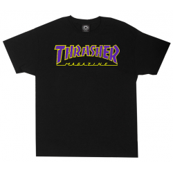 T-SHIRT THRASHER OUTLINED - BLACK PUPLE