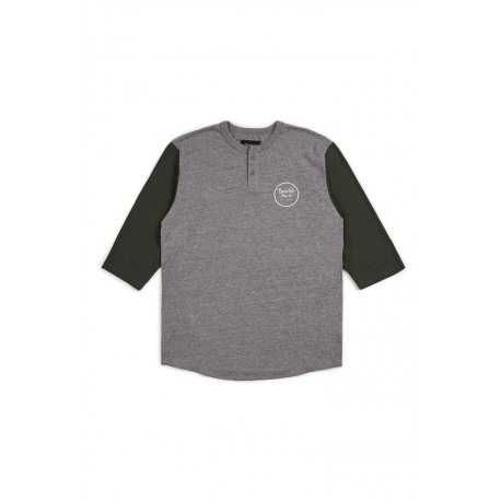 T-SHIRT BRIXTON WHEELER 3/4 SLEEVE - HEATHER GREY / PINE