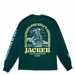T-SHIRT JACKER NO VACATIONS LS - DARK GREEN