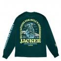 T-SHIRT JACKER NO VACATIONS LS - DARK GREEN