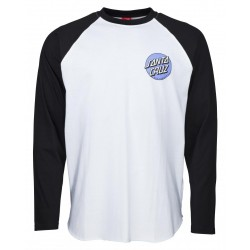 T-SHIRT SANTA CRUZ CUSTOM TOP ROB DOT 2 LS BASEBALL - BLACK WHITE