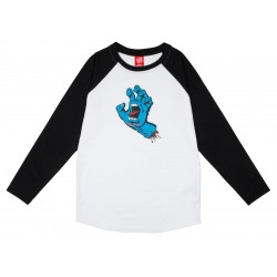 T-SHIRT SANTA CRUZ YOUTH CUSTOM TOP SCREAMING HAND - BLACK WHITE