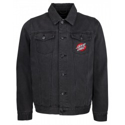 VESTE SANTA CRUZ VINTAGE BONE HAND DENIM JACKET - BLACK WASHED DENIM