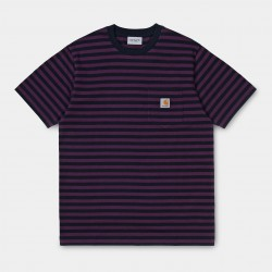 T-SHIRT CARHARTT WIP SS PARKER POCKET - COTTON PARKER STRIPE DARK NAVY