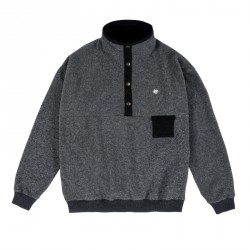 SWEAT MAGENTA ALPIN FLEECE HIGH NECK - DARK HEATHER GREY