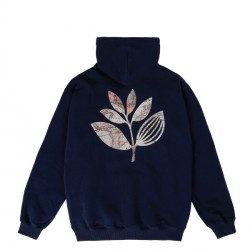 SWEAT MAGENTA PLANT MAP HOODIE - NAVY