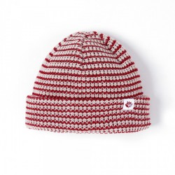 BONNET MAGENTA STRIPED LOW BEANIE BURGUNDY WHITE
