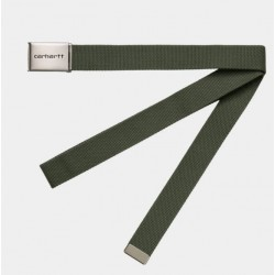 CEINTURE CARHARTT WIP CLIP BELT CHROME - DOLLAR GREEN
