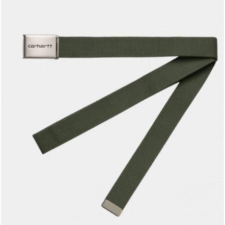 CEINTURE CARHARTT WIP CLIP BELT CHROME - DOLLAR GREEN