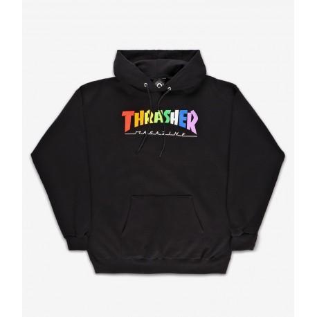 SWEAT THRASHER RAINBOW MAG HOOD - BLACK