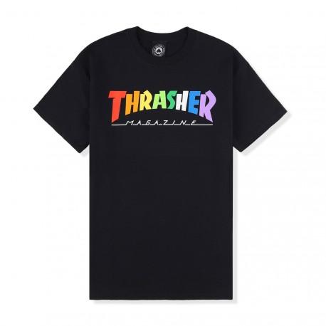 T-SHIRT THRASHER RAINBOW MAG SS - BLACK