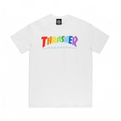 T-SHIRT THRASHER RAINBOW MAG SS - WHITE