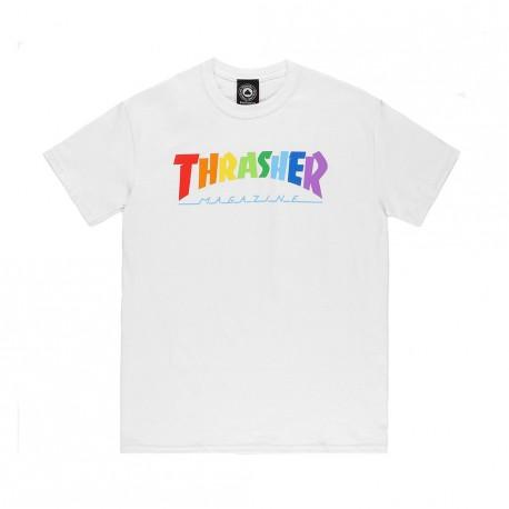 T-SHIRT THRASHER RAINBOW MAG SS - WHITE
