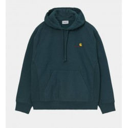 SWEAT CARHARTT WIP HOODED AMERICAN SCRIPT - DEEP LAGOON