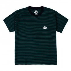 T-SHIRT MAGENTA STRIPED PLANT TEE - NAVY GREEN