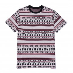 T-SHIRT HUF X PLAYBOY STRIPES SS KNIT - BURGUNDY