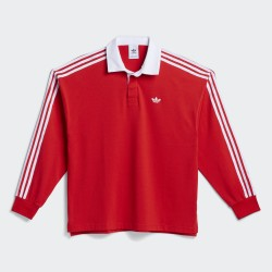 POLO ADIDAS SOLID RUGBY LS - VIVID RED WHITE