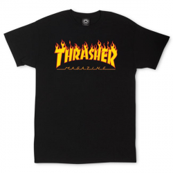 T-SHIRT THRASHER FLAME LOGO - BLACK