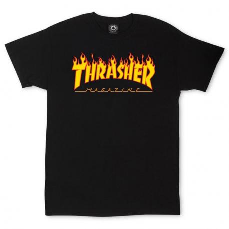 T-SHIRT THRASHER FLAME LOGO - BLACK