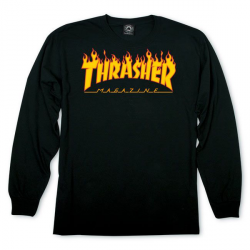 T-SHIRT THRASHER LS FLAME - BLACK