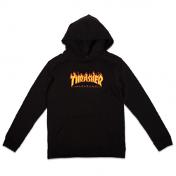 SWEAT THRASHER FLAME HOOD YOUTH - BLACK