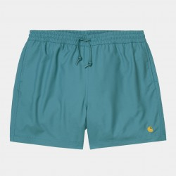 SHORT CARHARTT WIP CHASE SWIM TRUNKS - HYDRO GOLD