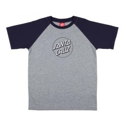 T-SHIRT SANTA CRUZ YOUTH OPUS DOT RAGLAN - NAVY HEATHER GREY