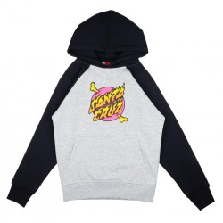 SWEAT SANTA CRUZ YOUTH CROSSBONE DOT RAGLAN HOOD - BLACK HEATHER GREY