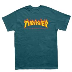 T-SHIRT THRASHER FLAME - GALAPAGOS BLUE