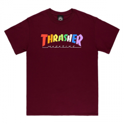 T-SHIRT THRASHER RAINBOW MAG - MAROON
