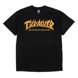 T-SHIRT THRASHER FIRE LOGO - BLACK