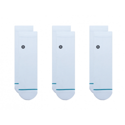 CHAUSSETTES STANCE ICON QUARTER (PACK DE 3) - WHITE