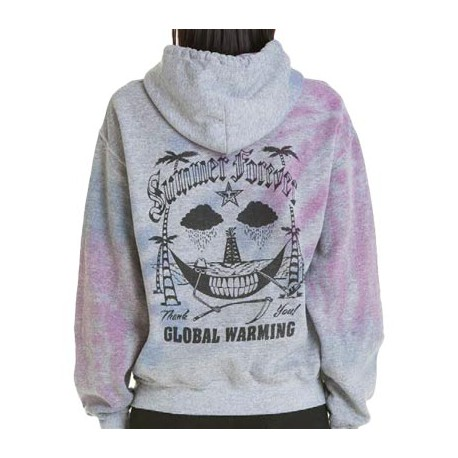 OBEY SUMMER FOREVER SWEAT WOMEN CHARCOAL HEATHER TIE DIE