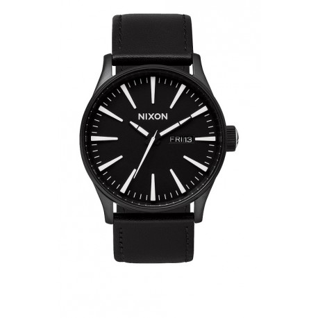 MONTRE NIXON SENTRY LEATHER BLACK WHITE