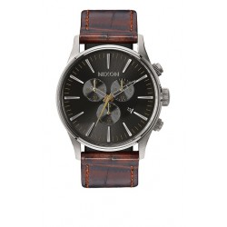 MONTRE NIXON SENTRY CHRONO LEATHER - BROWN / GATOR