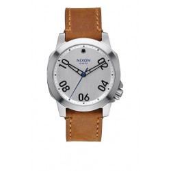MONTRE NIXON RANGER 40 LEATHER SILVER SADDLE
