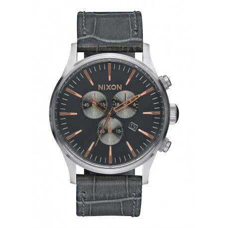NIXON SENTRY CHRONO LEATHER - GREY/GATOR